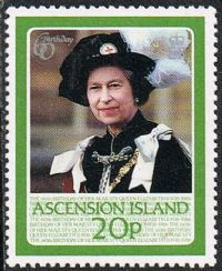 Ascension SG399 1986 60th Birthday of Queen Elizabeth II 20p unmounted mint